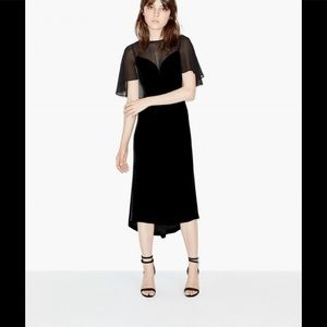 The Kooples Silk Velvet Caped Dress